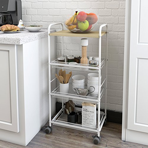Lifewit 4-Tier Multifunctional Storage Trolley Rolling Cart with Omnidirectional Wheels & Wooden Worktop for Kitchen (Wooden Cart Storage)