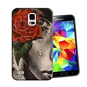 DESIGNCOOL a special face with tears Phone Case For Samsung Galaxy s5 red flower