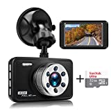 """Senwow Car Dash Cam with 32GB Card, 1080P Full HD Dashboard Camera Recorder 3"""" LCD 140° Wide Angle On Dash Video Metal Shell Driving DVR with G-Sensor, Loop Recording, Night Vision, Parking Monitor"""