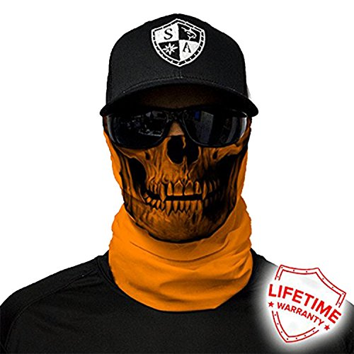 Orange Skull Cap (SA Company Face Shield Micro Fiber Protect From Wind, Dirt & Bugs. Worn as a Balaclava, Neck Gaiter & Head Band For Hunting, Fishing, Boating, Cycling, Paintball & Salt Lovers - Tactical Orange Skull)