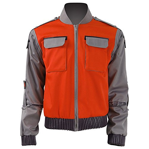 VOSTE Marty McFly Jacket Cosplay Costume Casual Outwear Suit for Men (Medium, Orange) -