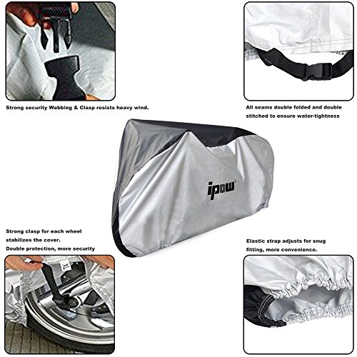 IPOW 210D Thicken Oxford Fabric Waterproof Snowproof UV Protective Cycle Bike Bicycle Cover with Bag Best for Mountain Road Electric and Cruiser Bikes by IPOW (Image #3)