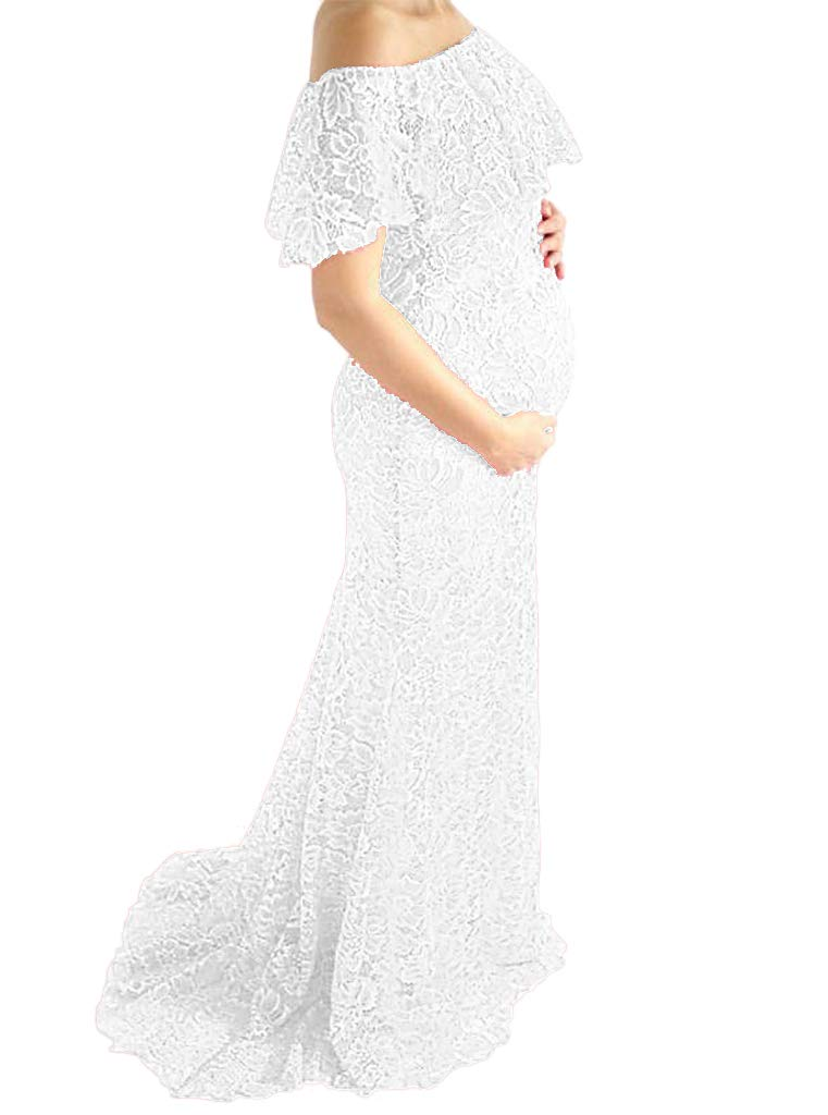 Wedding Maternity Fitted Maternity Lace Gown Maternity Photoshoot Gown Lace Baby Shower Dress Lace Wedding Gown Photoshoot Dress (L, White)