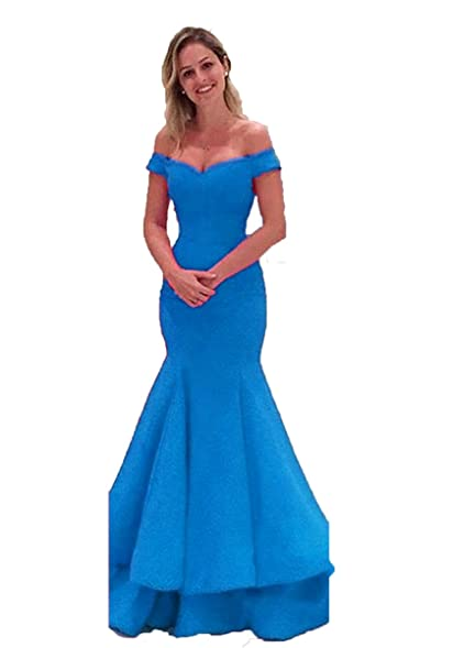 XingMeng Mermaid Satin Prom Evening Dresses Off the Shoulder Bridesmaid Gowns Blue US 2