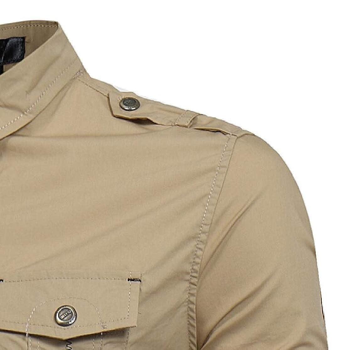 M/&S/&W Mens Cargo Lapel Long Sleeve Shirt Mens Autumn Military Cargo Button