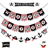 Levfla Pirate Happy Birthday Banner Party Decoration Supplies, Sword Captain Hat Helm Photo Props Garland for Kids, Nautical Sailing Treasure Black and Red Striped Party Pennant Decorations