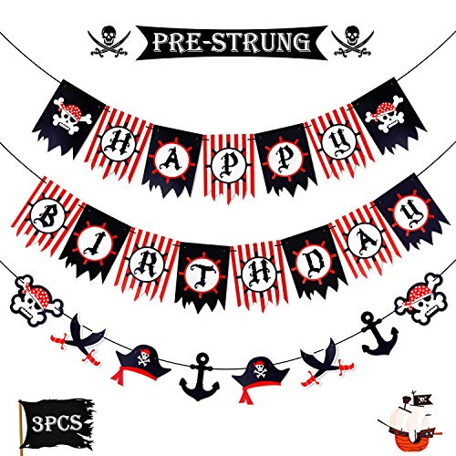 Levfla Pirate Happy Birthday Banner Party Decoration Supplies, Sword Captain Hat Helm Photo Props Garland for Kids, Nautical Sailing Treasure Black and Red Striped Party Pennant Decorations -