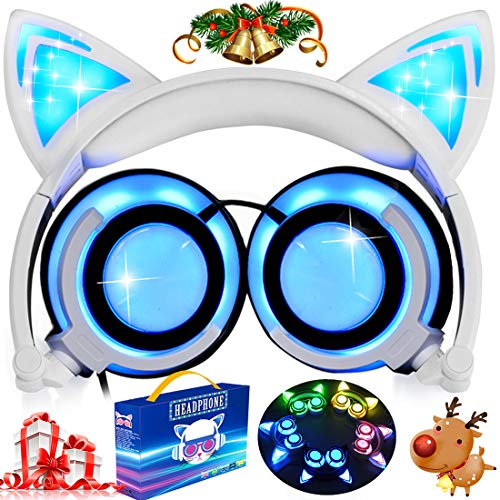 (Kids Cat Ear Headphones with Glowing LED Light USB Rechargable 85dB Volume Limited Adjustable Headband 3.5mm Jack Over/On Ear Earphones Foldable Game Headset for Girls Boys)