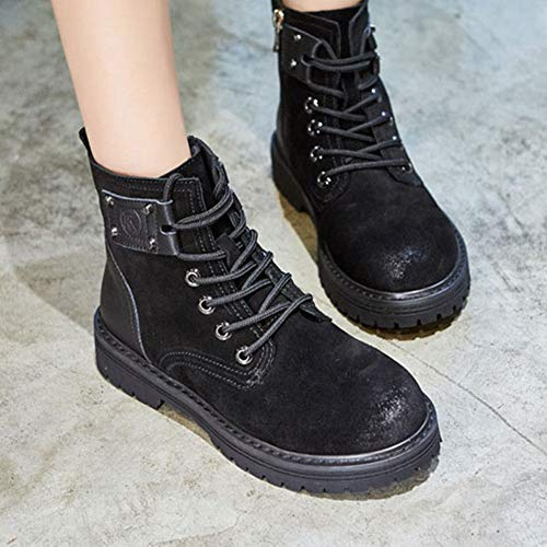2018 Lace JULY Women's Winter Soft Black Ankle Short Boots Flat Booties Genuine Leather Autumn up Martin T Platform I7Andq11wg