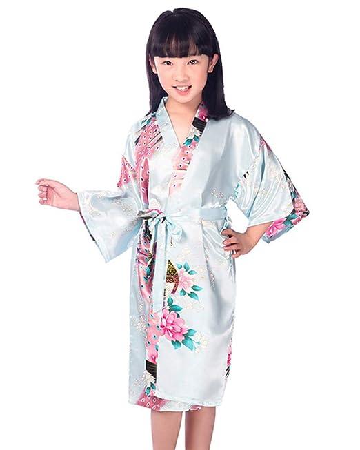 MISSMAOM Niños Niñas Casual Vintage Retro Bata de Vestir Kimono Satén Bata Bata camisón para SPA Boda Fiesta de cumpleaños: Amazon.es: Ropa y accesorios