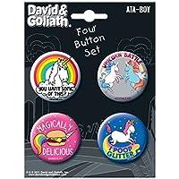 """Ata-Boy David y Goliath Unicorns Surtido # 1 Juego de 4 botones coleccionables de 1.25 """""""
