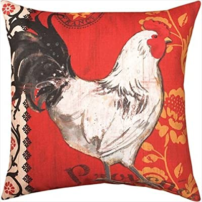 Manual La Provence Roosters Decorative Pillow - Dimensions: 18L x 18W in. Cover created with polyester Filled with polyester fiber - patio, outdoor-throw-pillows, outdoor-decor - 512%2BKNvu9sL. SS400  -