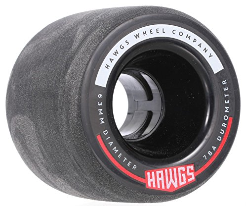 Fattie Hawgs Black 63mm 78a Longboard Wheels Set of 4 (Hawg Wheels)