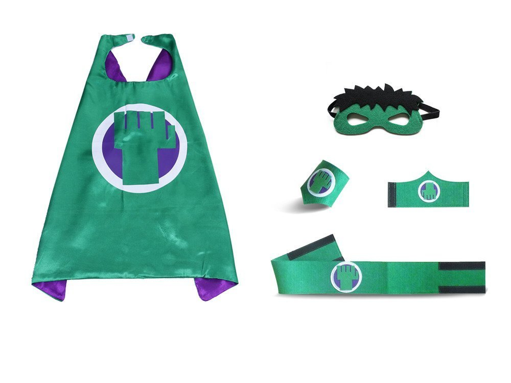 Child Super Hero Capes Masks Sets - Great Giant HULk DIY Birthday Party Capes