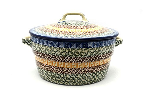 Polish Pottery Covered Casserole (Polish Pottery Baker - Round Covered Casserole - Autumn)
