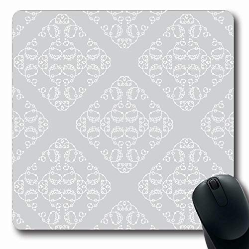 LifeCO Computer Mousepad Colors Silver Feather Endless Pattern Damask Vintage Abstract Bead Border Classic Corner Design Line Oblong Shape 7.9 x 9.5 Inches Oblong Gaming Non-Slip Rubber Mouse Pad Mat