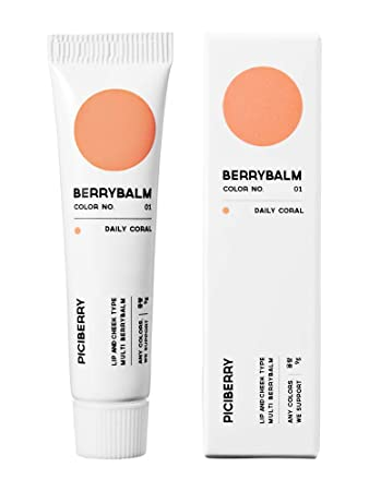 Piciberry Berrybalm Daily Coral , lip cheek balm, multi blush, moisturizing and matte, highly pigmented, long lasting formula