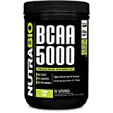 NutraBio BCAA 5000 Powder-372 Grams-LEMON LIME-100% Pure Branched Chain Amino Acids-HPLC Tested