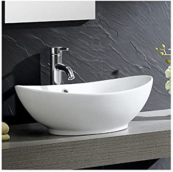 Modern Vitreous Oval Vessel Bathroom Sink With Overflow Vanity Sinks Amazon Com