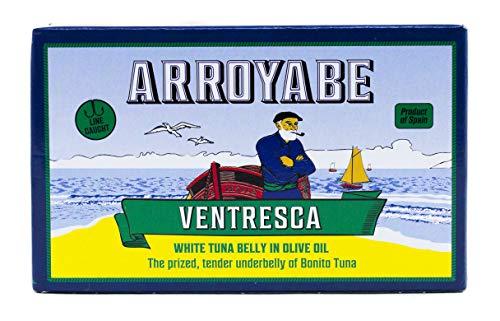 Ortiz Ventresca Tuna - Arroyabe Ventresca Bonito White Tuna Belly in Olive Oil, 3.9 Ounce