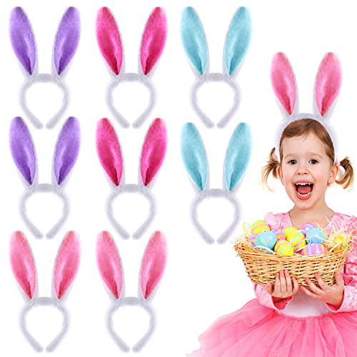 (Coopay 8 Pieces Bunny Ears Headband Cute Rabbit Ears HairBands for Easter Party Favor Costume Cosplay Accessory (Red, Pink, Blue, Purple)