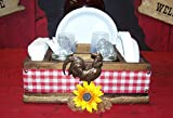 Farm Country Rooster Sunflower Utensil Organizer Holder, Utensil Caddy, Buffet, Kitchen Utensil Storage Holder