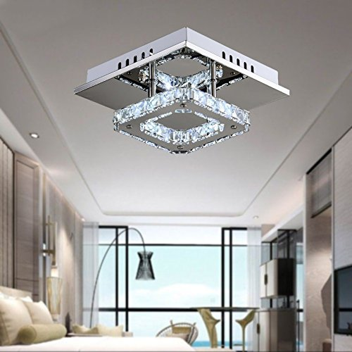 Square pendant lights amazon mini modern crystal chandelier square ceiling lamp for bedroom bathroom dining room83x83in12w aloadofball Images