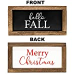 Cam n Honey Reversible Hello Fall/Merry Christmas Rustic Wood Sign-Farmhouse Home Decor