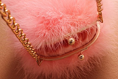 Fur Shoulder Bag Feather Round Zarapack Pink Clutch Fluffy Women's Faux qwE1EA