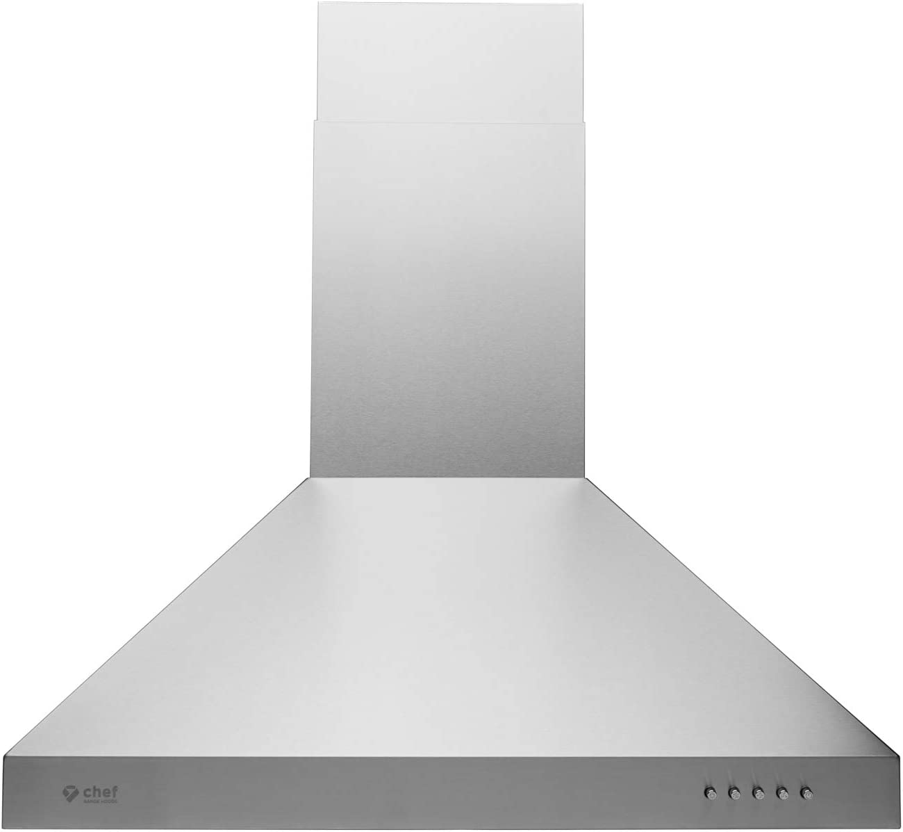 "Hauslane - Chef Series Range Hood 30"" WM-530SS-30P - European Style Series - 3 Speed Stainless Steel Wall-Mount - Strong Suction - Button Control, Steel Baffle Filter, LED Lamps - 6"" Duct or Ductless"