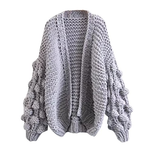 NiSeng Sweater Chunky Manches Cardigans Elegant Manteau Gris Tricots Tricot Femmes Longues Pull Sweaters Chandail rTWEwZqrx