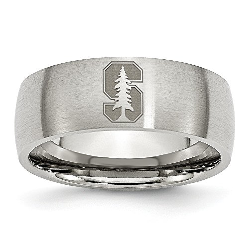 (Size 10 - Stainless Steel Stanford University Laser Etch Ring (8mm))