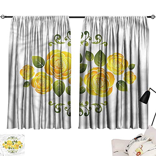 """smallbeefly lace Curtains Yellow,Roses with Swirl Frame 63""""x72"""",Kids Blackout Thermal Curtain Panel"""