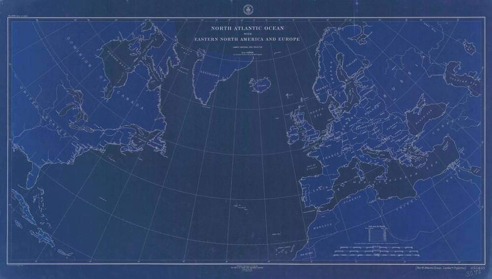 Vintography NOAA Blueprint Style 18 x 24 Nautical Chart North Atlantic Ocean with Eastern North America and Europe C&GS 47a