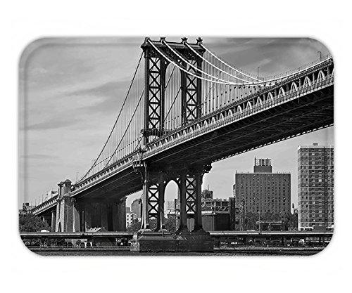 Minicoso Doormat New York Decor Bridge of NYC Vintage East Hudson River Image USA Travel Top Place City Photo Art Print - Michigan Place City Lighthouse