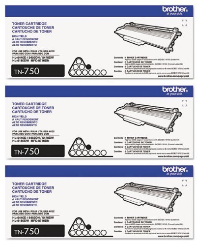 Genuine Brother TN-750 (TN750) High Yield Black Toner Cartridge 3-Pack
