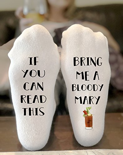 If You Can Read This Bring Me A Bloody Mary Socks Novelty Funky Crew Socks Men Women Christmas Gifts Cotton Slipper Socks by California Social Hour