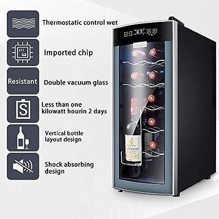 YFGQBCP Mini refrigerador refrigerador - 12 Botellas para la Cerveza Soda o Vino - Puerta de Cristal Máquina dispensadora de Bebidas pequeñas Black Glass Removible para el hogar, Oficina o Barra