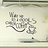 JB JJ011 Wall Stickers Black Text Words for Home Cafe Shop Decoration … (wake up to a good cup of coffee)