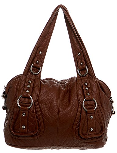 (Soft Vegan Leather New Women's Ruffled Top Handle Handbag Shoulder Bag Cross Body Cute Satchel for Summer)
