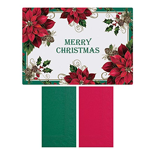 Placemat Paper Hunter (Hoffmaster 856794 Traditional Poinsettia - Placemat and Napkin Combo Pack, Disposable, (Each case has 250 Placemats, and 250 Napkins) (Pack of 500))