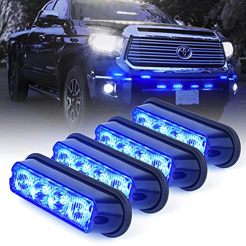 Watt Emergency Vehicle Waterproof Surface Mount Deck Dash Grille Strobe Light Warning Police Light Head with Clear Lens - 4 Pack ()