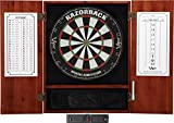 Viper Metropolitan Sisal/Bristle Steel Tip Dartboard & Cabinet Bundle: Elite Set (Razorback Dartboard, Darts and Laser Throw Line), Cinnamon Finish