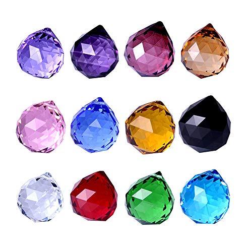Wispun 30mm Vintage Feng Shui Faceted Decorating Crystal Ball Prism Pendant Suncatcher Multi-Color Hanging Pendant Suncatcher 12pcs (Ornaments Crystal Garden Hanging)