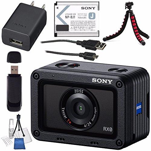 Sony RX0 1.0''-Type Sensor Ultra-Compact Waterproof/Shockproof Camera DSC-RX0 + Card Reader + Lens Cleaning Kit + Flexible Tripod Bundle by Sony