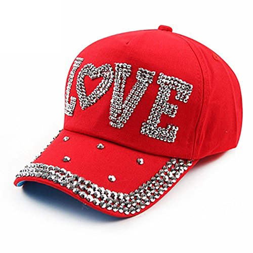 (Raylans Fashion Women Bling Studded Rhinestone Crystal Love Lips Baseball Caps Hats (Red))