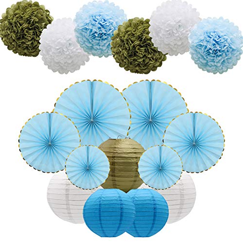 KAXIXI Blue Party Decorations Supplies Kit, Paper Lanterns, Tissue Pom Poms Flowers, Paper Hanging Fans Set for Baby Showers Bridal Birthday Wedding School -