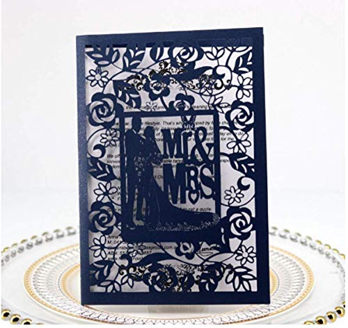 10PCS Mr & Ms Blue Laser Cut Wedding Invitations Cards Wedding Birthday Engagement Greeting Tksmart from Unknown