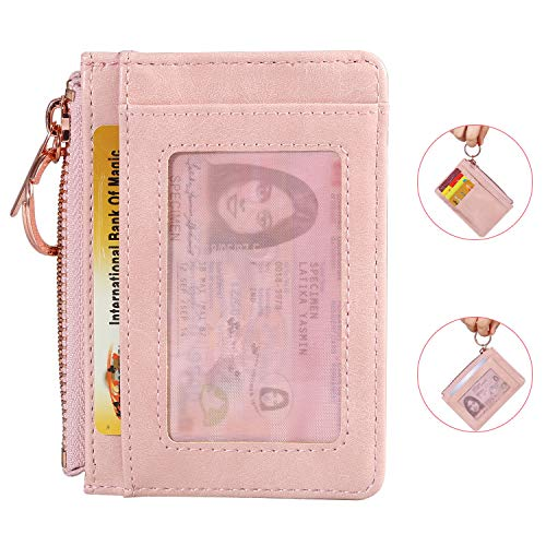 Leather Coin Purse Key Chain Credit Card Wallet Card Holder with ID Window Small Size (Light Pink)