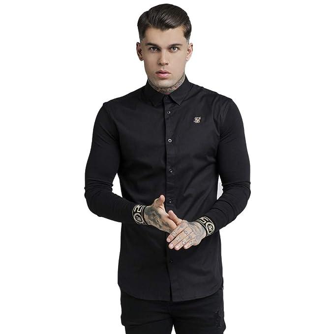 884741bd8096d SikSilk Men s L S Cartel Shirt - Black   Gold  Amazon.co.uk  Clothing